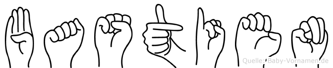 Bastien im Fingeralphabet der Deutschen Gebärdensprache