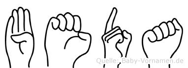 Beda in Fingersprache für Gehörlose