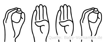 Obbo im Fingeralphabet der Deutschen Gebärdensprache