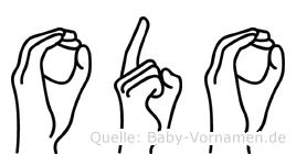 Odo im Fingeralphabet der Deutschen Gebärdensprache