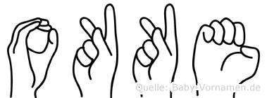 Okke im Fingeralphabet der Deutschen Gebärdensprache