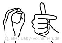 Ot im Fingeralphabet der Deutschen Gebärdensprache