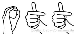 Ott im Fingeralphabet der Deutschen Gebärdensprache