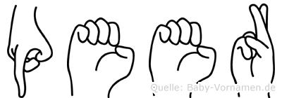 Peer im Fingeralphabet der Deutschen Gebärdensprache