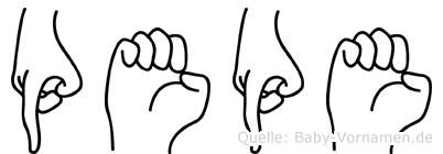 Pepe im Fingeralphabet der Deutschen Gebärdensprache