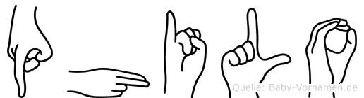 Philo im Fingeralphabet der Deutschen Gebärdensprache