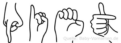 Piet im Fingeralphabet der Deutschen Gebärdensprache