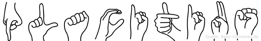 Placitius im Fingeralphabet der Deutschen Gebärdensprache