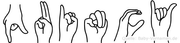 Quincy im Fingeralphabet der Deutschen Gebärdensprache