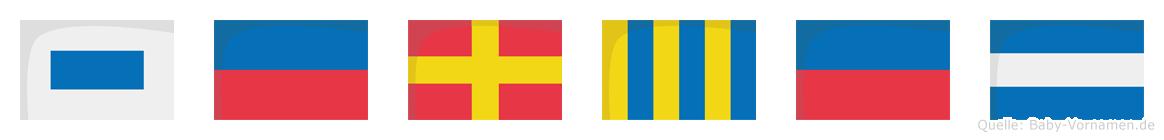 Sergej im Flaggenalphabet