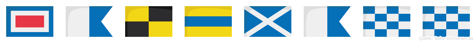 Waldmann im Flaggenalphabet