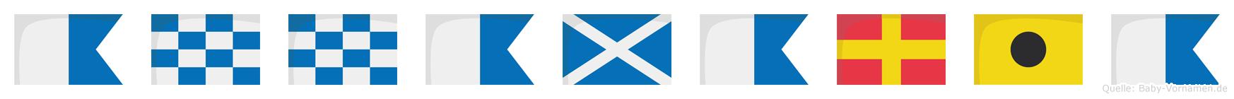 Annamaria im Flaggenalphabet