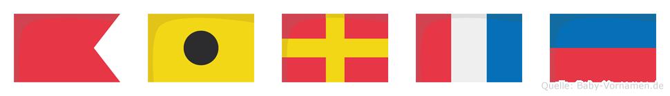 Birte im Flaggenalphabet
