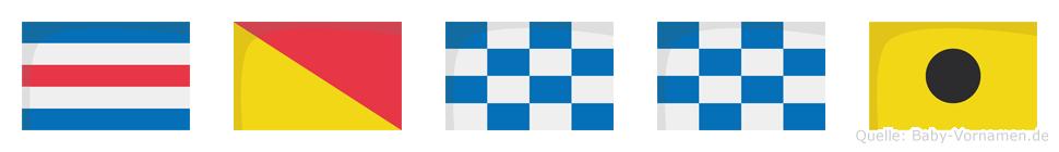 Conni im Flaggenalphabet