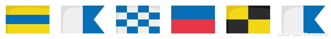 Danela im Flaggenalphabet