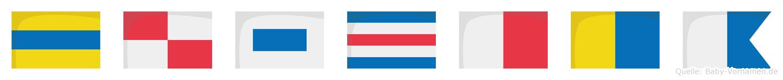 Duschka im Flaggenalphabet