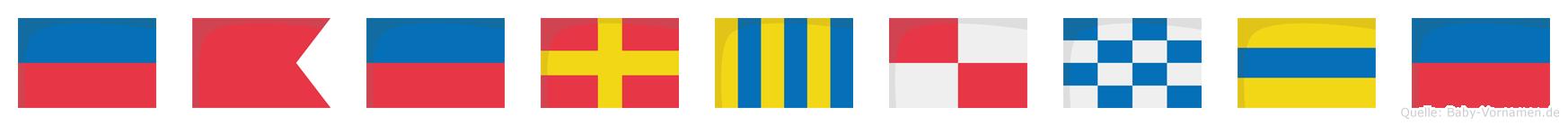 Ebergunde im Flaggenalphabet