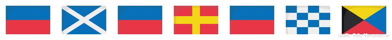 Emerenz im Flaggenalphabet