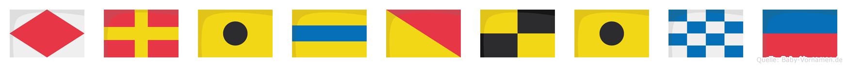 Fridoline im Flaggenalphabet
