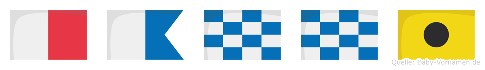 Hanni im Flaggenalphabet