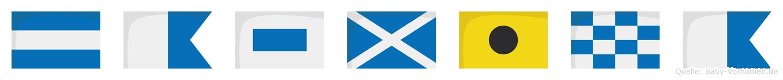 Jasmina im Flaggenalphabet