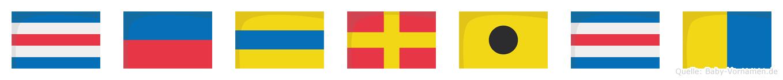 Cedrick im Flaggenalphabet