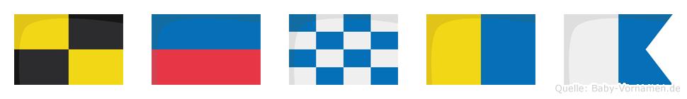 Lenka im Flaggenalphabet