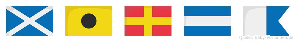 Mirja im Flaggenalphabet