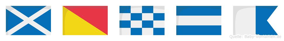 Monja im Flaggenalphabet