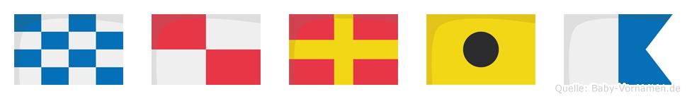 Nuria im Flaggenalphabet