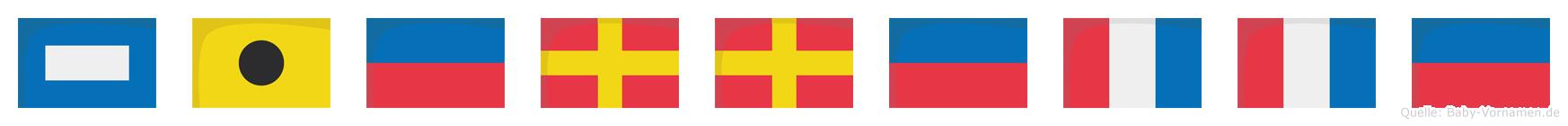 Pierrette im Flaggenalphabet