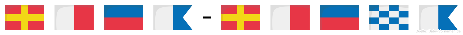 Rhea-Rhena im Flaggenalphabet