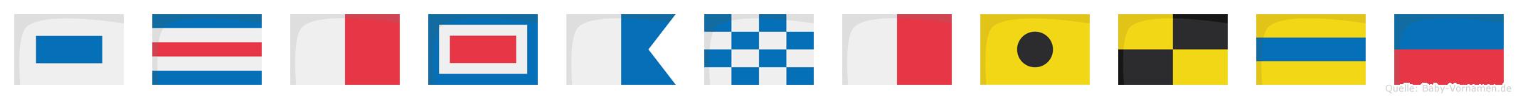 Schwanhilde im Flaggenalphabet