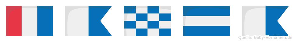 Tanja im Flaggenalphabet