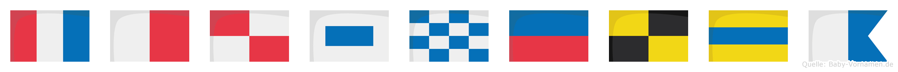 Thusnelda im Flaggenalphabet