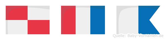 Uta im Flaggenalphabet