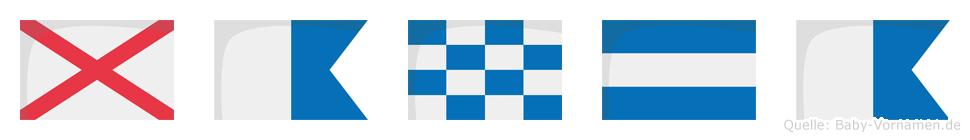 Vanja im Flaggenalphabet