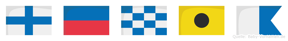 Xenia im Flaggenalphabet