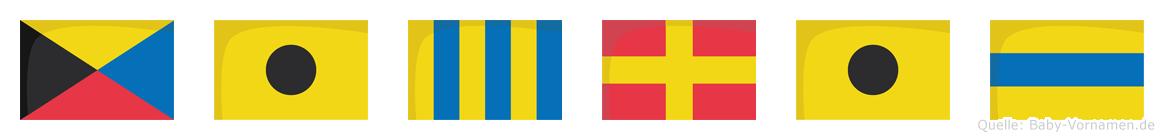 Zigrid im Flaggenalphabet