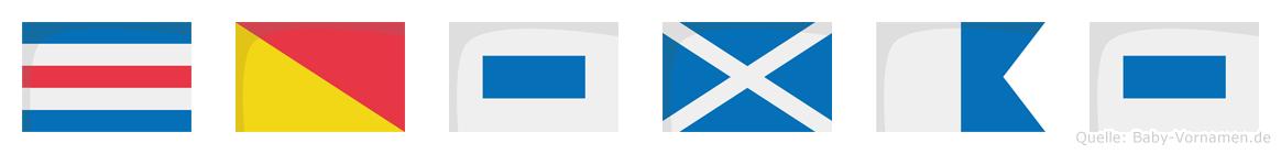 Cosmas im Flaggenalphabet