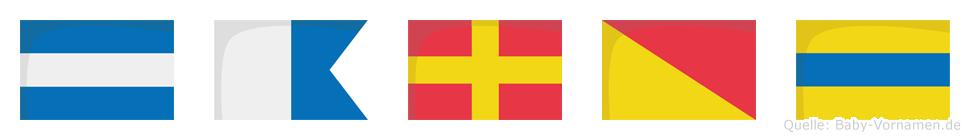 Jarod im Flaggenalphabet