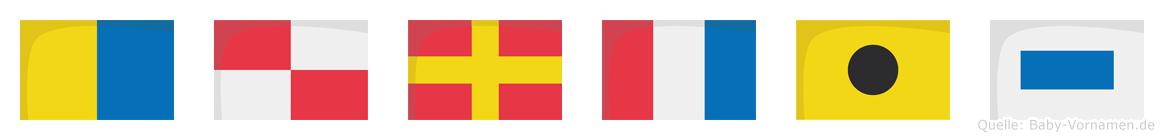 Kurtis im Flaggenalphabet