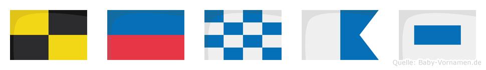Lenas im Flaggenalphabet