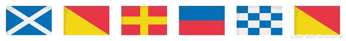 Moreno im Flaggenalphabet