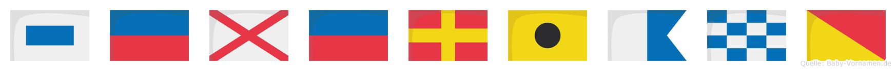 Severiano im Flaggenalphabet