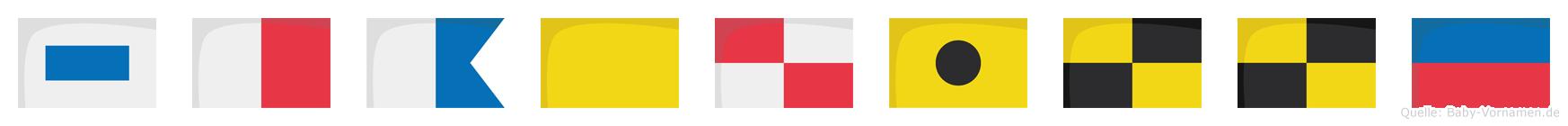 Shaquille im Flaggenalphabet