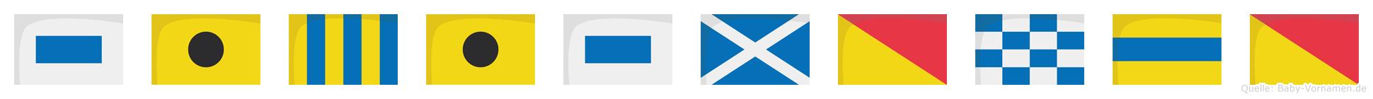 Sigismondo im Flaggenalphabet