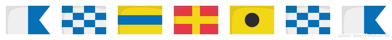 Andrina im Flaggenalphabet