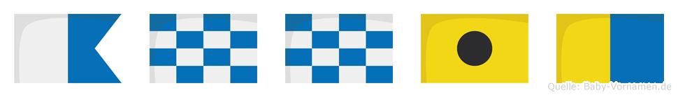 Annik im Flaggenalphabet