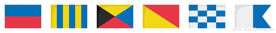 Egzona im Flaggenalphabet